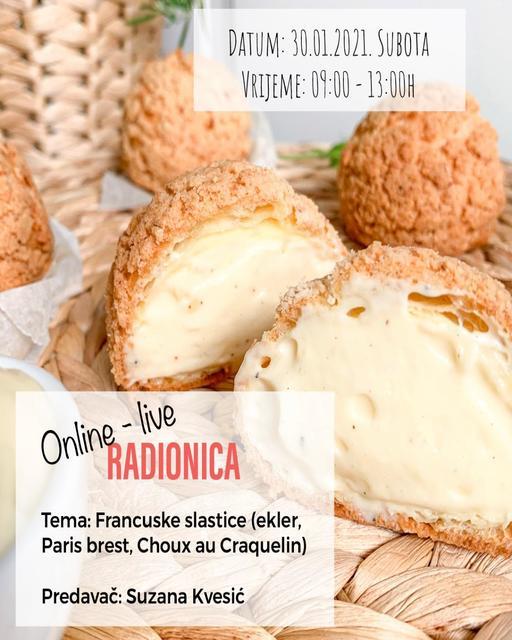Online-live RADIONICA: Francuske slastice (ekler, Paris brest, Choux au Craquelin)